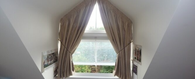 Apex window with curtains
