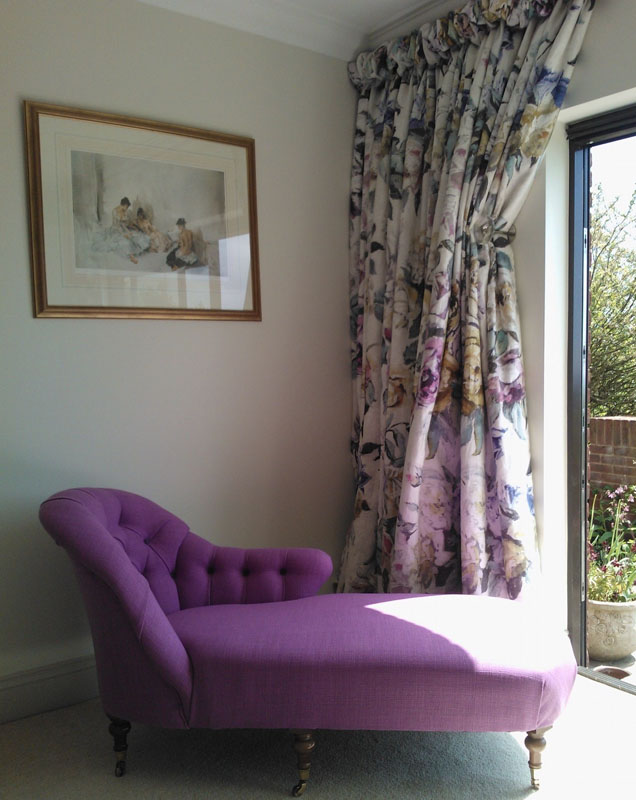 chaise lounge and upholstery curtains