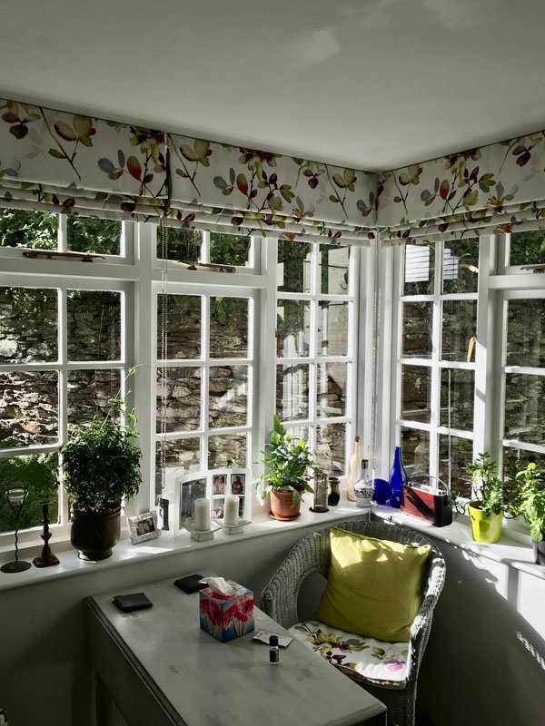 Sunroom blinds - floral pattern