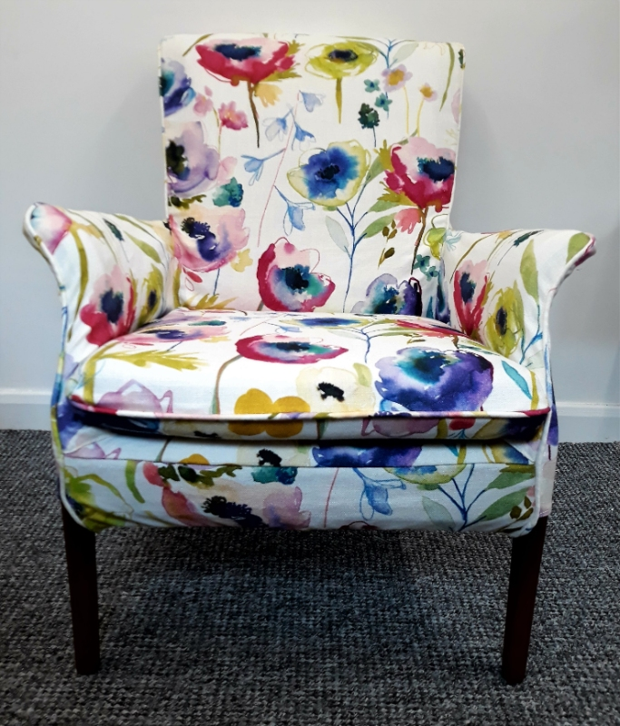 bespoke arm chair loose cover using Bluebellgray fabric