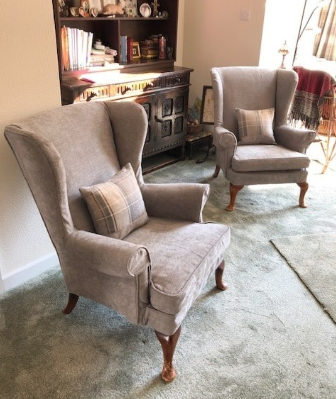 Made to measure loose covers for fireside wing back arm chair.