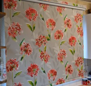 Made to measure kitchen roller blind with matching pelmet