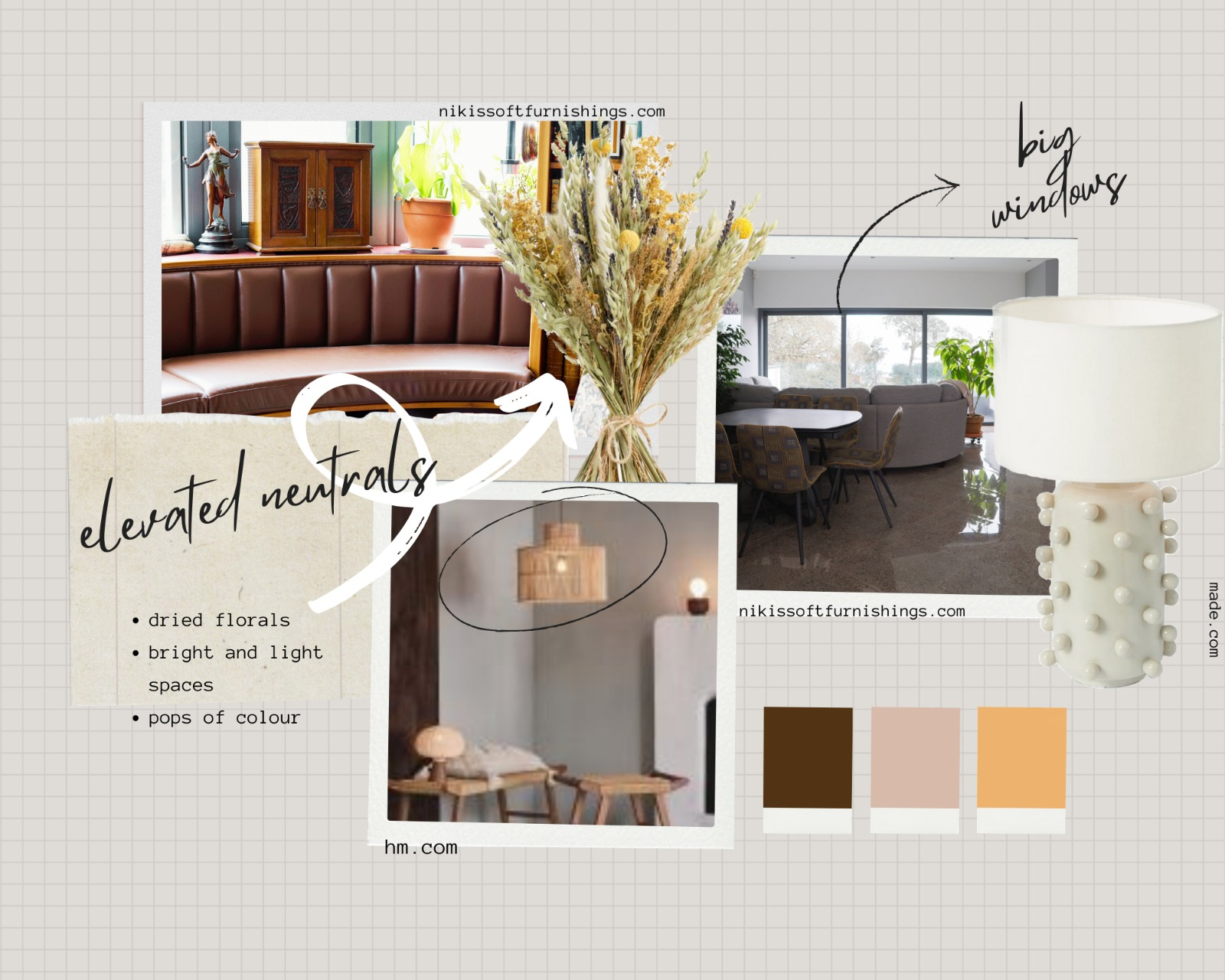 relaxing and elevated neutral mood board by Nikis Soft Furnishings Ltds